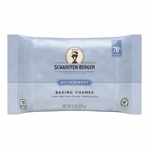 Scharffen Berger Bittersweet Chocolate Baking Chunks, 6 oz (Pack of 1) Perspective: front