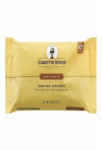 Scharffen Berger Fine Artisan Dark Chocolate Baking Chunks Semisweet -- 6 oz (Pack of 1) Perspective: front