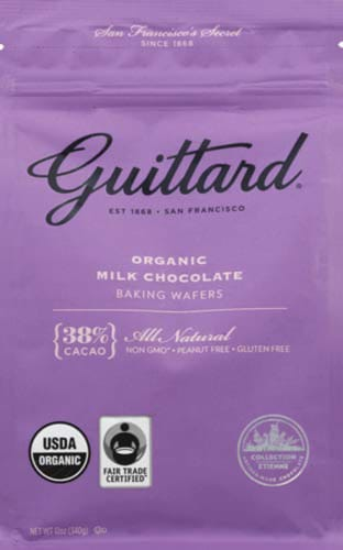 Guittard, Baking Wafer Milk Chocolate 38% Organic, 12 Ounce (Pack of 1) Perspective: front