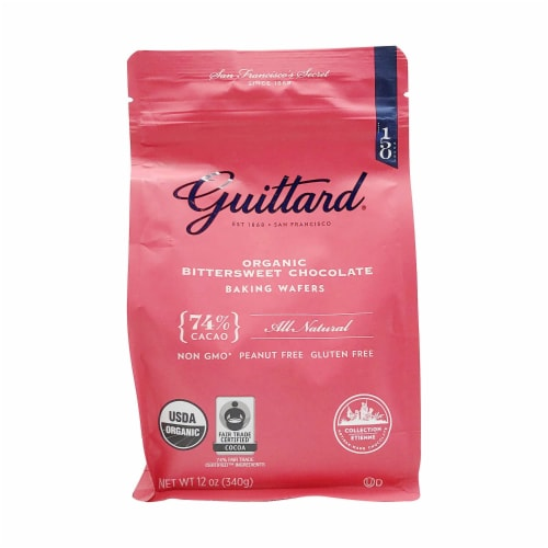 Guittard, Organic 74% Chocolate Baking Wafers, 12 Ounce (Pack of 1) Perspective: front
