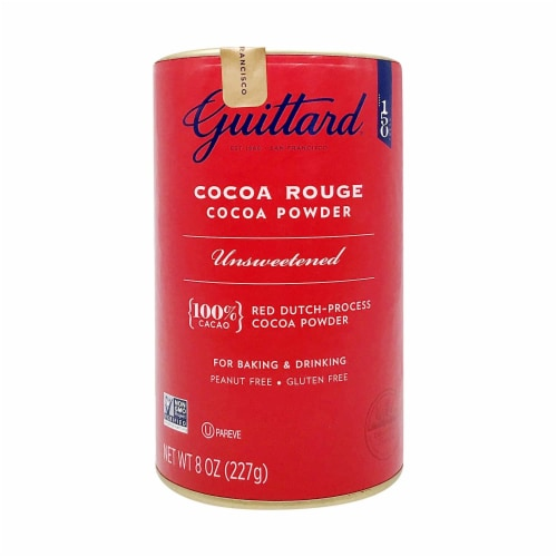 Guittard Cocoa Powder, Unsweetened Rouge Red Dutch Process Cocoa, 8oz Can Perspective: front