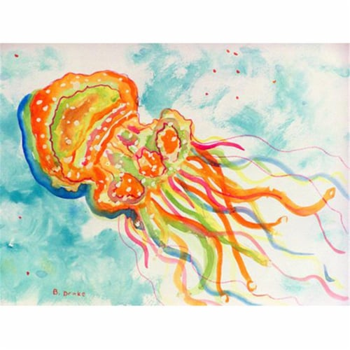Betsy Drake PM083 Orange Jellyfish Place Mat - Set of 4 Perspective: front
