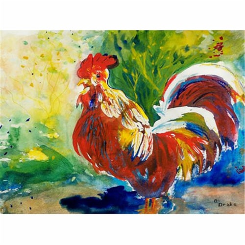 Betsy Drake PM144 Red Rooster Place Mat - Set of 4 Perspective: front