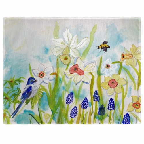 Betsy Drake PM167 Bird & Daffodil Place Mat - Set of 4 Perspective: front