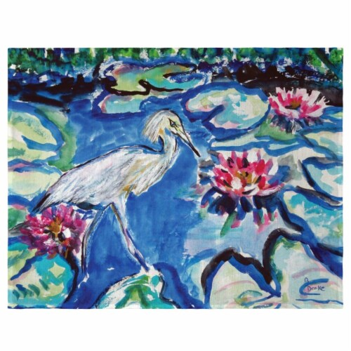 Betsy Drake PM551 Heron & Waterlilies Place Mat - Set of 4 Perspective: front