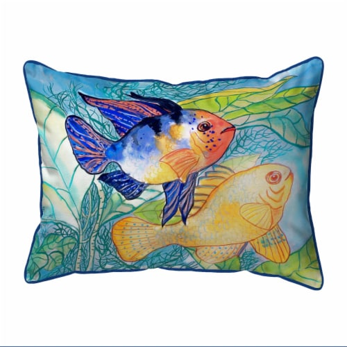 Betsy Drake Betsy's Two Fish Small Indoor/Outdoor Pillow 11x14 Perspective: front