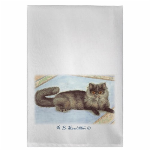 Betsy Drake GT053COR Cat on Rug Guest Towel Perspective: front