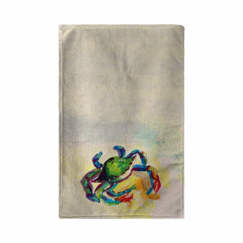 Betsy Drake KT267 Teal Crab Kitchen Towel Perspective: front