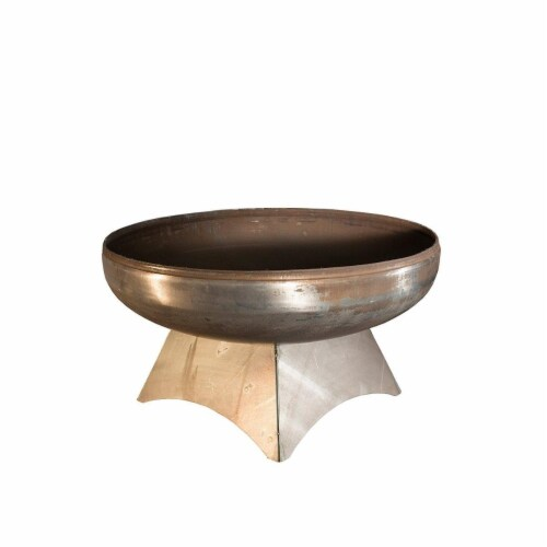 Ohio Flame OF30LTY-SB 30 dia. Liberty Natural Steel Standard Base Fire Pit Perspective: front