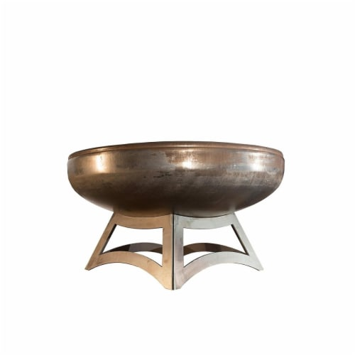 Ohio Flame OF42LTY-HB 42 dia. Liberty Natural Steel Hollow Base Fire Pit Perspective: front