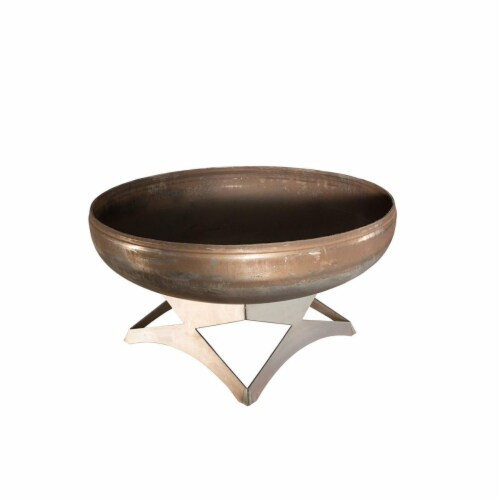 Ohio Flame OF42LTY-AB 42 dia. Liberty Natural Steel Angular Base Fire Pit Perspective: front