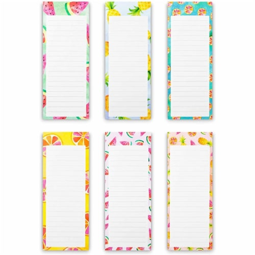 Magnetic Fridge Notepads for Grocery, Shopping to-Do Lists, Memos, Fruit Design (6 Pack) Perspective: front