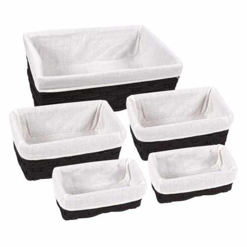 Juvale Woven Storage Baskets, Decorative Storage Bins (5-Pack) Perspective: front