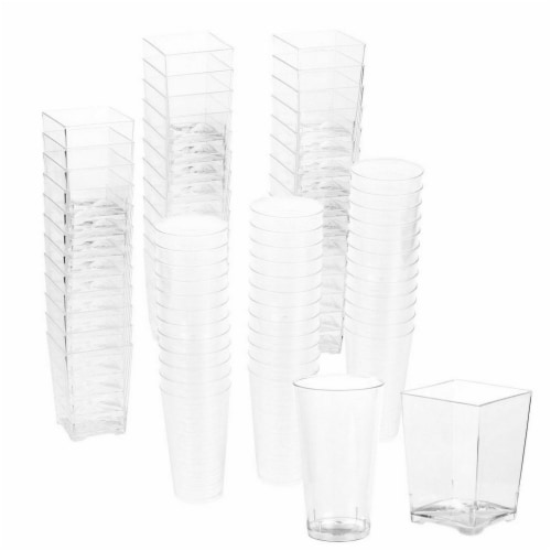 Plastic Shot Glass and Square Dessert Cups for Parties (3 Oz, 5 Oz) Perspective: front