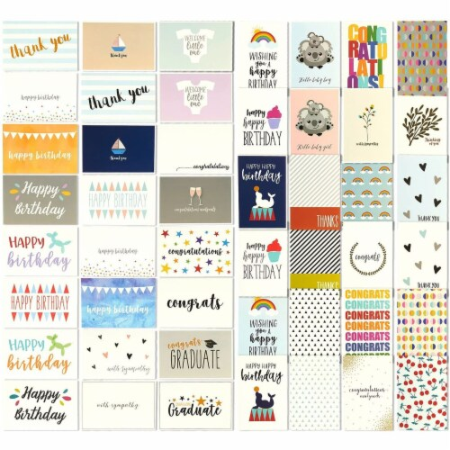 48 Assorted Greeting Cards Birthday, Thank You, Wedding, Blank Inside w/Envelope Perspective: front