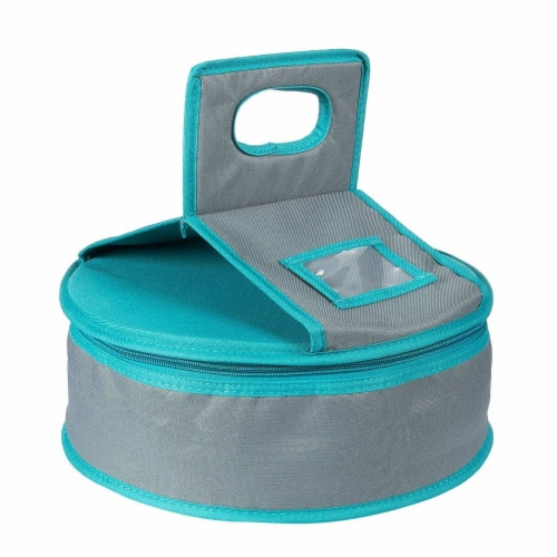 Insulated Round Thermal Casserole Food Carrier for Lunch, Teal and Grey Perspective: front