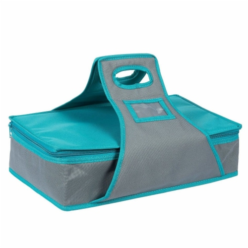 Insulated Rectangle Thermal Casserole Dish Carrier, Teal and Grey, 16 x 10 x 4 inches Perspective: front