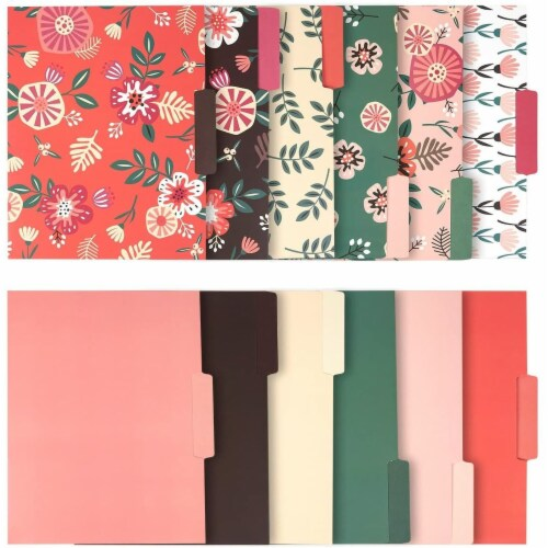 Decorative File Folders with Floral Designs, Letter Size (9.5 x 11.5 In, 12 Pack) Perspective: front