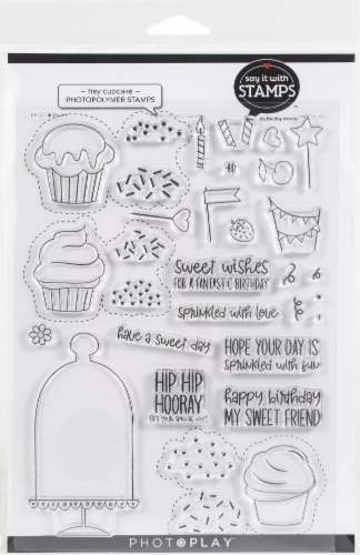 PhotoPlay Say It With Stamps Photopolymer Stamps-Hey Cupcake Perspective: front