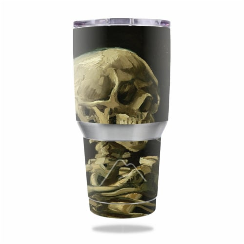 MightySkins OZTUM30-Skull With Cigarette Skin for Ozark Trail 30 oz Tumbler - Skull with Ciga Perspective: front