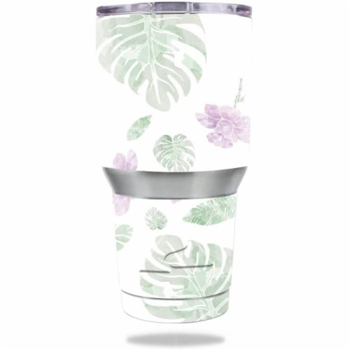 MightySkins OZTUM30-Water Color Flowers Skin for Ozark Trail 30 oz Tumbler - Water Color Flow Perspective: front