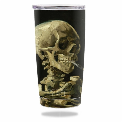 MightySkins YERAM20-Skull With Cigarette Skin for Yeti 20 oz Tumbler - Skull with Cigarette Perspective: front
