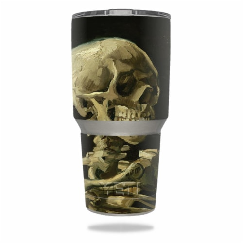 MightySkins YERAM30-Skull With Cigarette Skin for Yeti 30 oz Tumbler - Skull with Cigarette Perspective: front