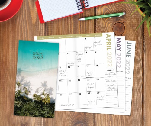 Tropical Beach 2022-23 2-year Pocket Planner Perspective: front
