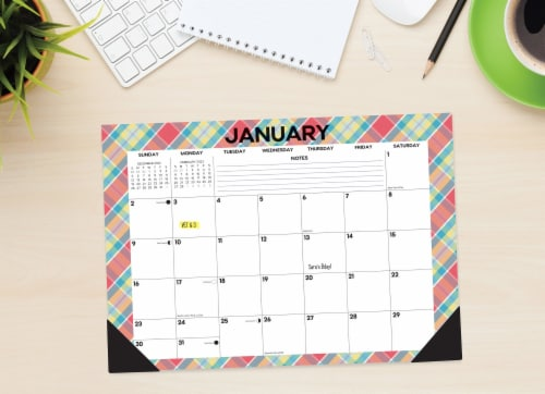 Plaid Patterns 17  x 12  Monthly Deskpad Calendar Perspective: front