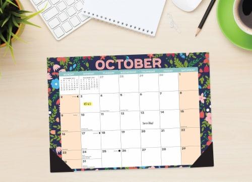 Spring Floral 17  x 12  Monthly Deskpad Calendar Perspective: front