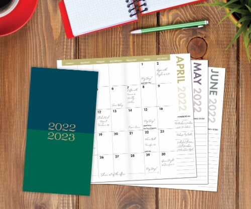 Green and Blue 2022-23 2-year Pocket Planner Perspective: front