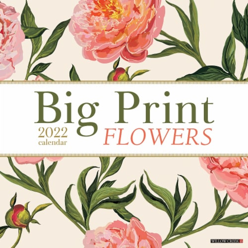Big Print Flowers 2022 Wall Calendar, Floral Large Grid Planning Perspective: front