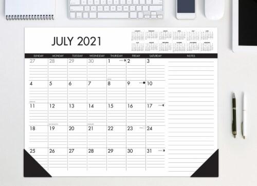 Black & White 22  x 17  Large Monthly Deskpad Calendar Perspective: front