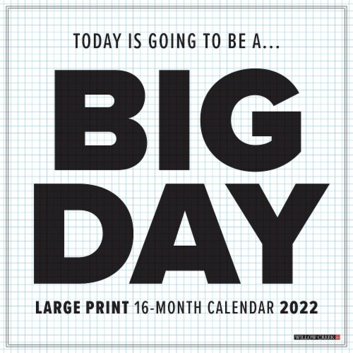 Big Day 2022 Large Print and Grid Wall Calendar Perspective: front