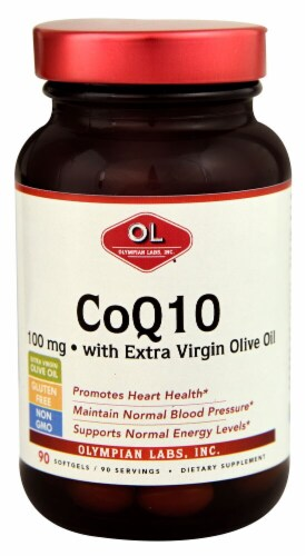Olympian Labs  CoQ10 with Extra Virgin Olive Oil Perspective: front
