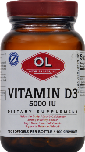 Olympian Labs Vitamin D3 Softgels 5000 IU 100 Count Perspective: front