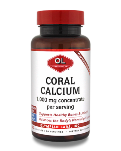 Olympian Labs Coral Calcium 1000 mg Dietary Supplement Perspective: front