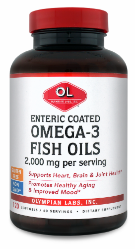 Olympian Labs Enteric Coated Omega 3 Fish Oils 2000mg Softgels Perspective: front