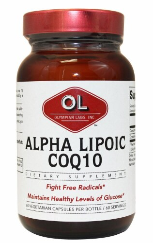 Olympian Labs  Alpha Lipoic COQ10 Vegetarian Capsules Perspective: front