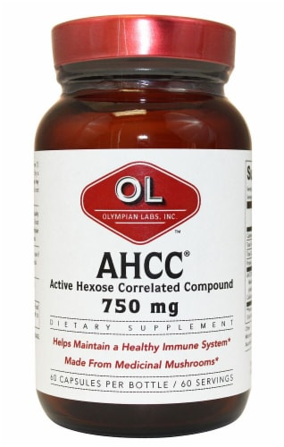 Olympian Labs AHCC® Dietary Supplement Capsules 750mg Perspective: front