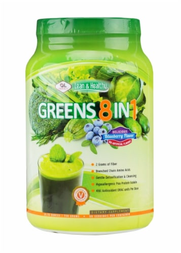 Olympian Labs Greens 8 in 1 Blueberry Protein Supplement Perspective: front