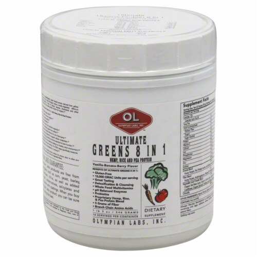 Olympian Labs Ultimate Greens 8 in 1 Hemp Protein Vanilla Banana Berry Flavor Perspective: front