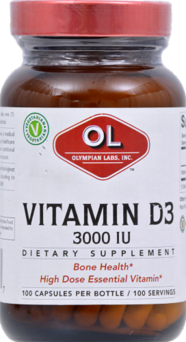 Olympian Labs Vitamin D3 Capsules 3000 IU 100 Count Perspective: front
