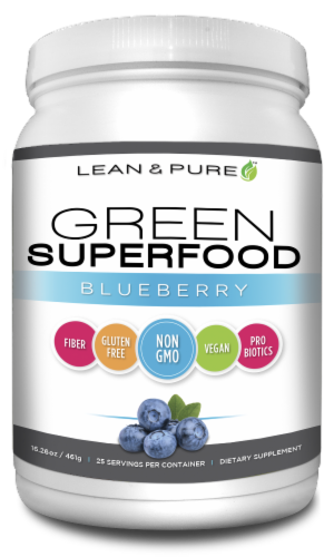 Lean & Pure Green Superfood Blueberry Dietary Supplement Perspective: front