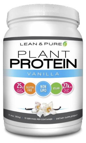 Lean & Pure Vanilla Plant Protein Dietary Supplement Perspective: front