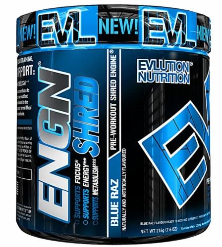 Evlution Nutrition  ENGN® Shred Pre-Workout Shred Engine   Blue Raz Perspective: front