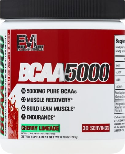 Evlution Nutrition  BCAA5000™   Cherry Limeade Perspective: front