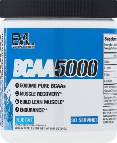 Evlution Nutrition  BCAA5000™   Blue Raz Perspective: front