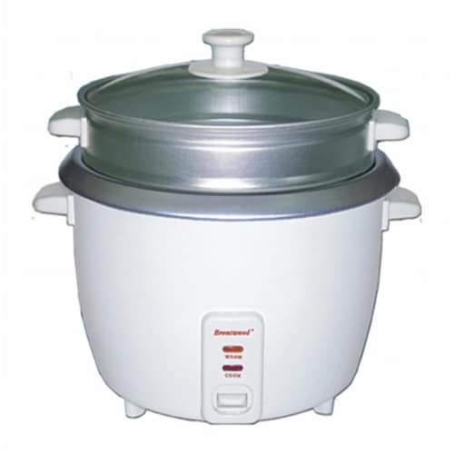 Brentwood TS-600S 5 Cup - 1.0 Liter - Rice Cooker with Steamer - White Body Perspective: front