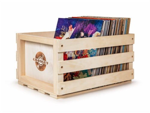 Crosley Record Storage Crate - Natural Perspective: front